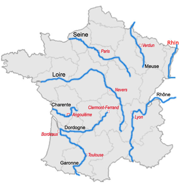 France map with Rivers