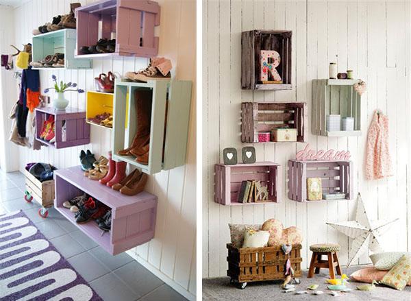 Crea vintage decorar con cajas de madera antiguas - Decorar cajas de fruta de madera ...