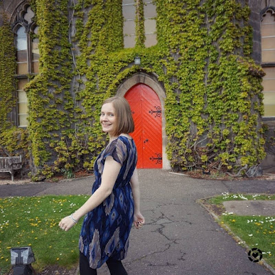 navy ikat print dress in liberton kirkyard blogger photo | away from the blue