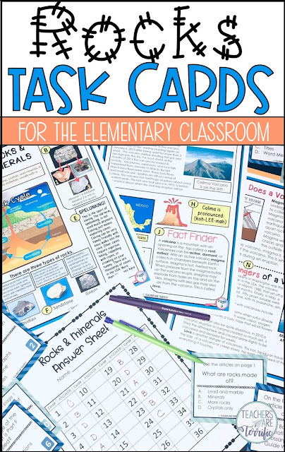 Rocks and Minerals Task Cards: The task cards feature questions about the text features and their purpose. There are also basic reading comprehension and identification questions.
