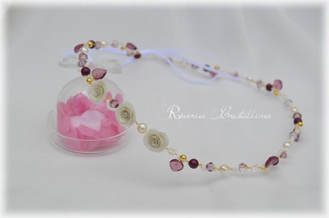 headband ou couronne roses et cristaux romantique
