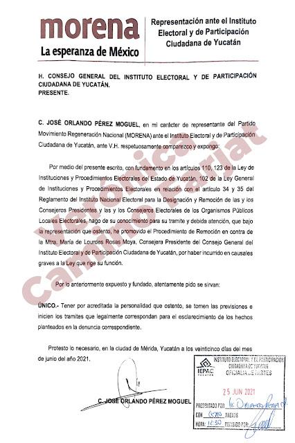 Solicita Morena remover de su cargo a la presidenta del IEPAC