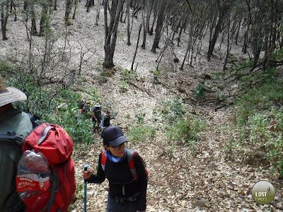 Comenzando el descenso en Cerro Viejo por la cara norte