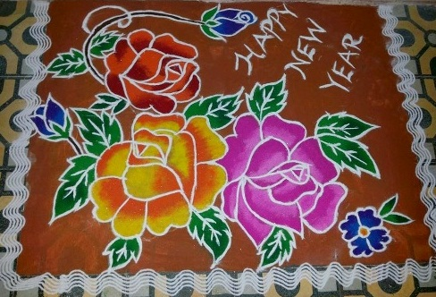 Happy New Year Rangoli Design Gallery 44