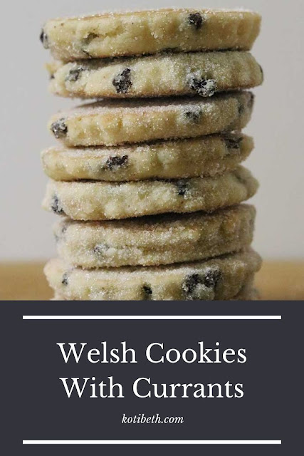 How to make traditional Welsh cookies.  Also called Welsh cakes or griddlecakes or bakestones or tea cakes or butter cookies, these are a unique cookie recipe. They are made with Crisco vegetable shortening or lard to make a dough then cooked on a griddle and dipped in sugar.  They are made with currants for a unique flavor. This is an easy recipe and takes under an hour to make a batch. #welshcookie #welshcake #cookie #welsh #dessert #currants