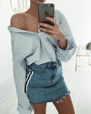outfit con falda de mezclilla
