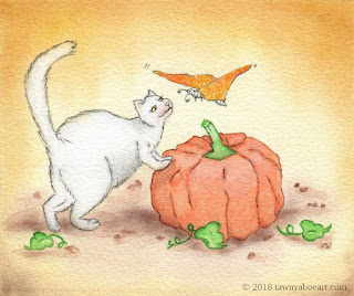 Whimsical Cat and Butterfly Illustration Art by Tawnya Boe