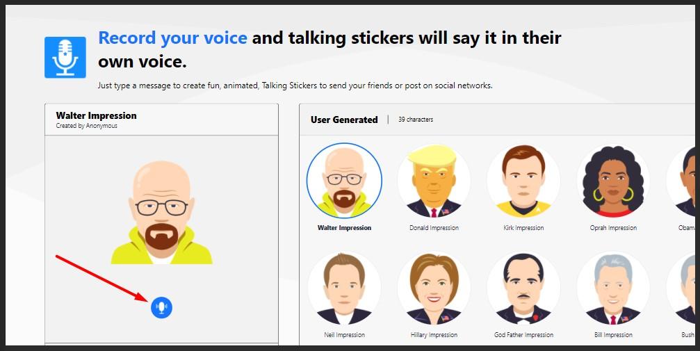 pilih tokoh dan upload atau rekam suara anda