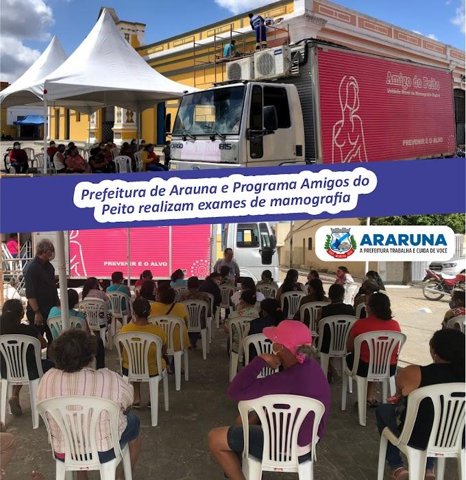 """Araruna recebe visita do caminhão """"Amigos do Peito"""" e realiza mais de 80 mamografias nesta segunda-feira"""