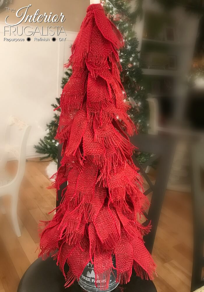 Red Burlap Ribbon Tabletop Christmas Tree Assembled