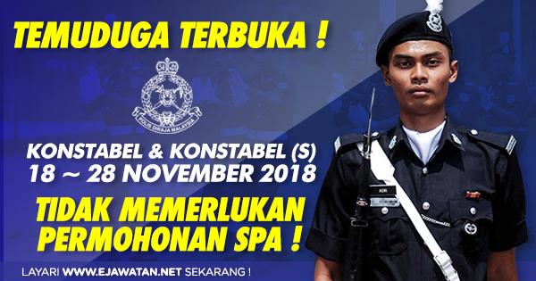 temuduga terbuka polis pdrm tanpa spa 2018 2019