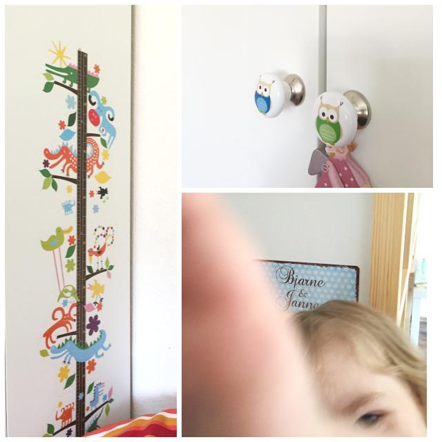 Kinderzimmer - Messlatte, Eulen am Kleiderschrank und Namensschild