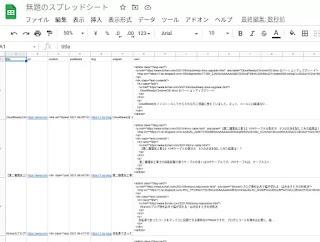 GoogleスプレッドシートにCSVファイルを読み込んだ