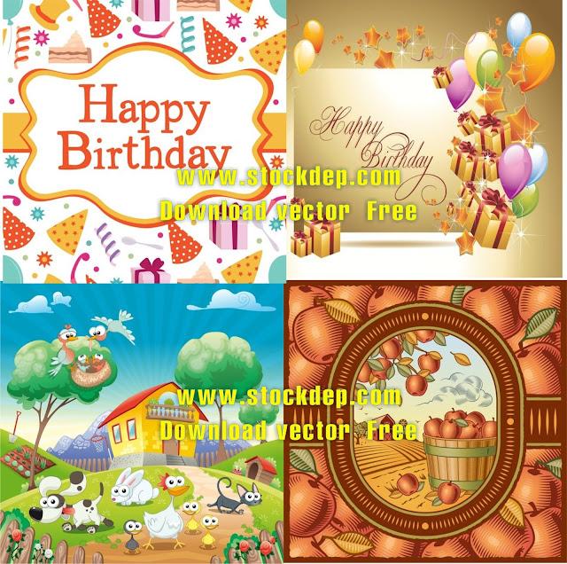 Vector Thiệp sinh nhật miễn phí birthday-card