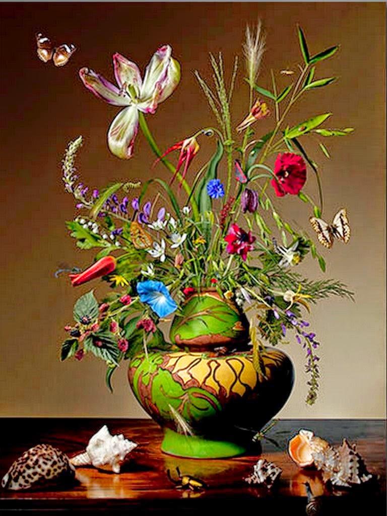 Cuadros modernos pinturas y dibujos jarr n de flores - Fotos jarrones con flores ...