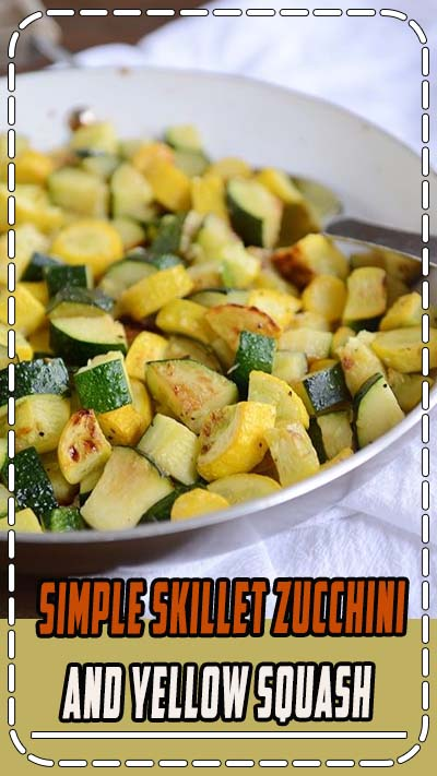 This skillet zucchini and yellow squash is delicious, healthy, and bound to become a summer side dish staple. #zucchini #yellowsquash #healthy #garden #sidedish #melskitchencafe