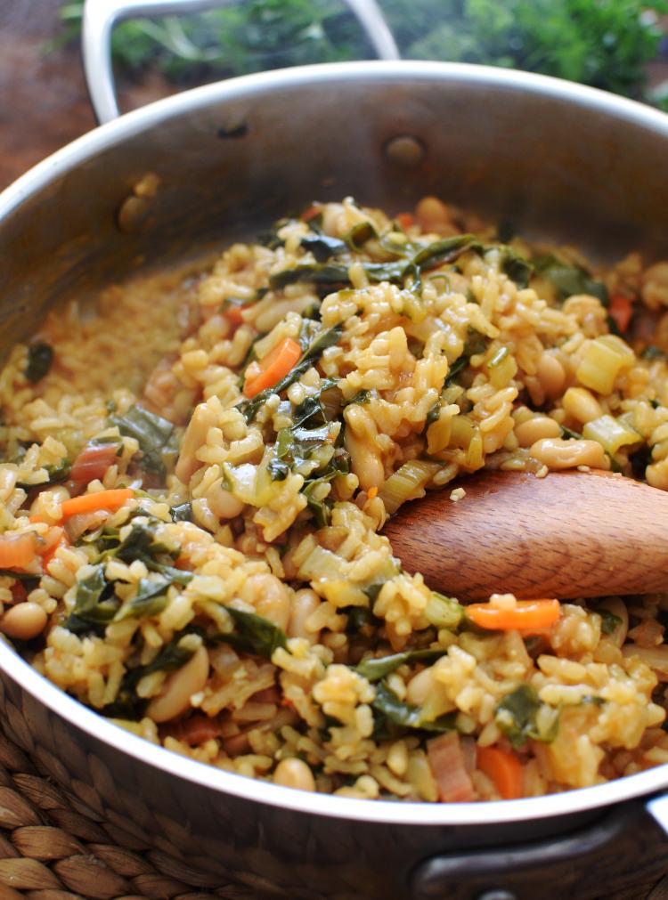 Arroz meloso con acelgas, alubias y zanahorias