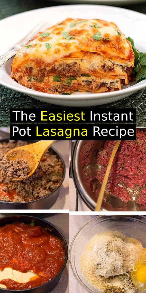 Instant Pot Lasagna is the easiest lasagna recipe! It tastes delicious, and you can customize it to your taste, adding any of your favorite ingredients! Instant Pot Lasagna is delicious and hearty. No need to pre-cook the pasta if you use no-boil noodles. Pressure cooker lasagna is easy to make. #easylasagna #lasagna #instantpot #dinner #dinnerrecipe