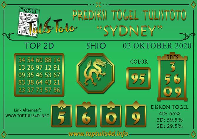 Prediksi Togel SYDNEY TULISTOTO 02 OKTOBER 2020