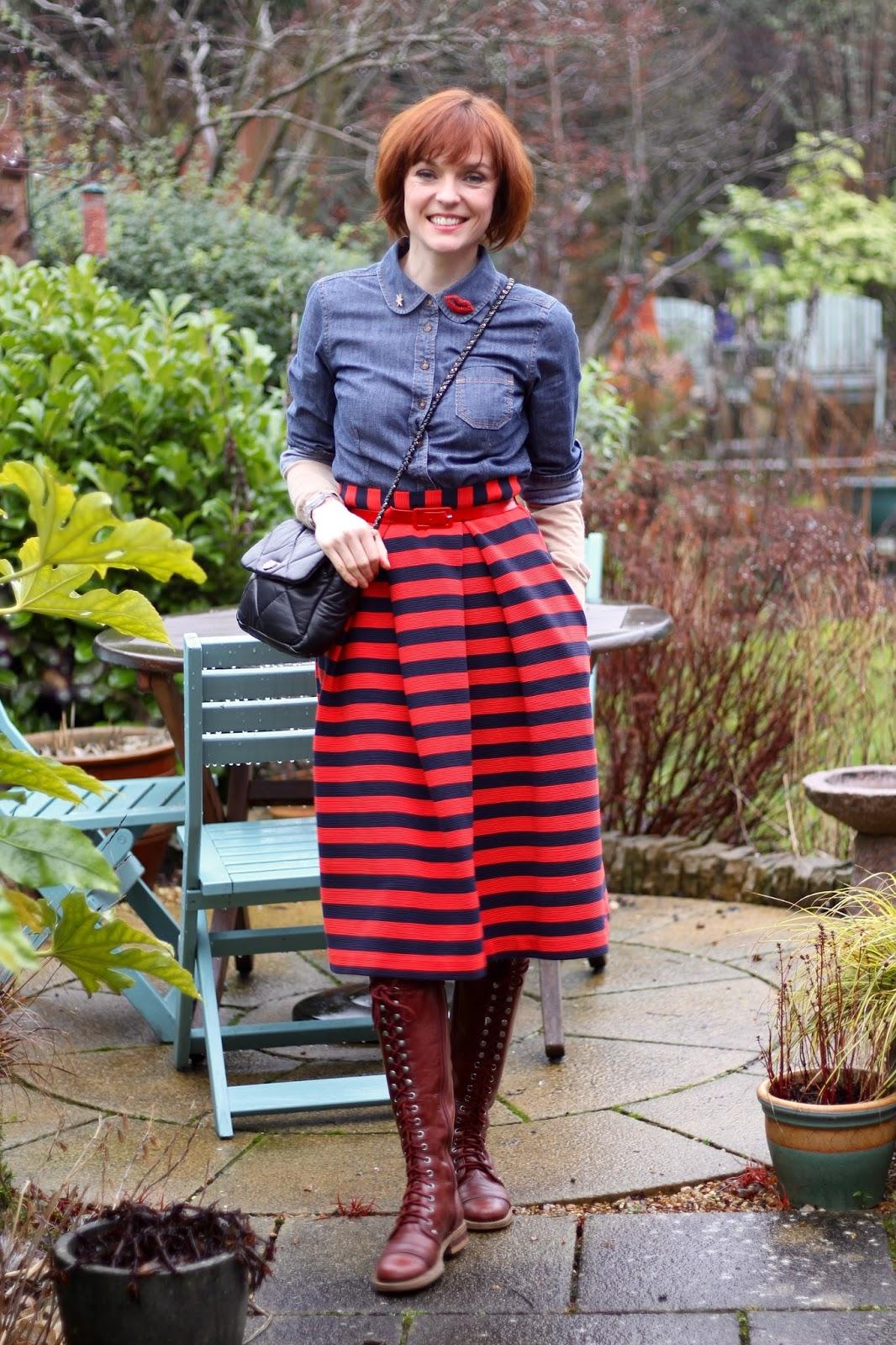 Striped Midi Skirt, Burgandy Knee Boots & Denim Shirt, over 40 | Fake Fabulous