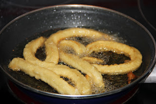 Fry the churros in hot oil