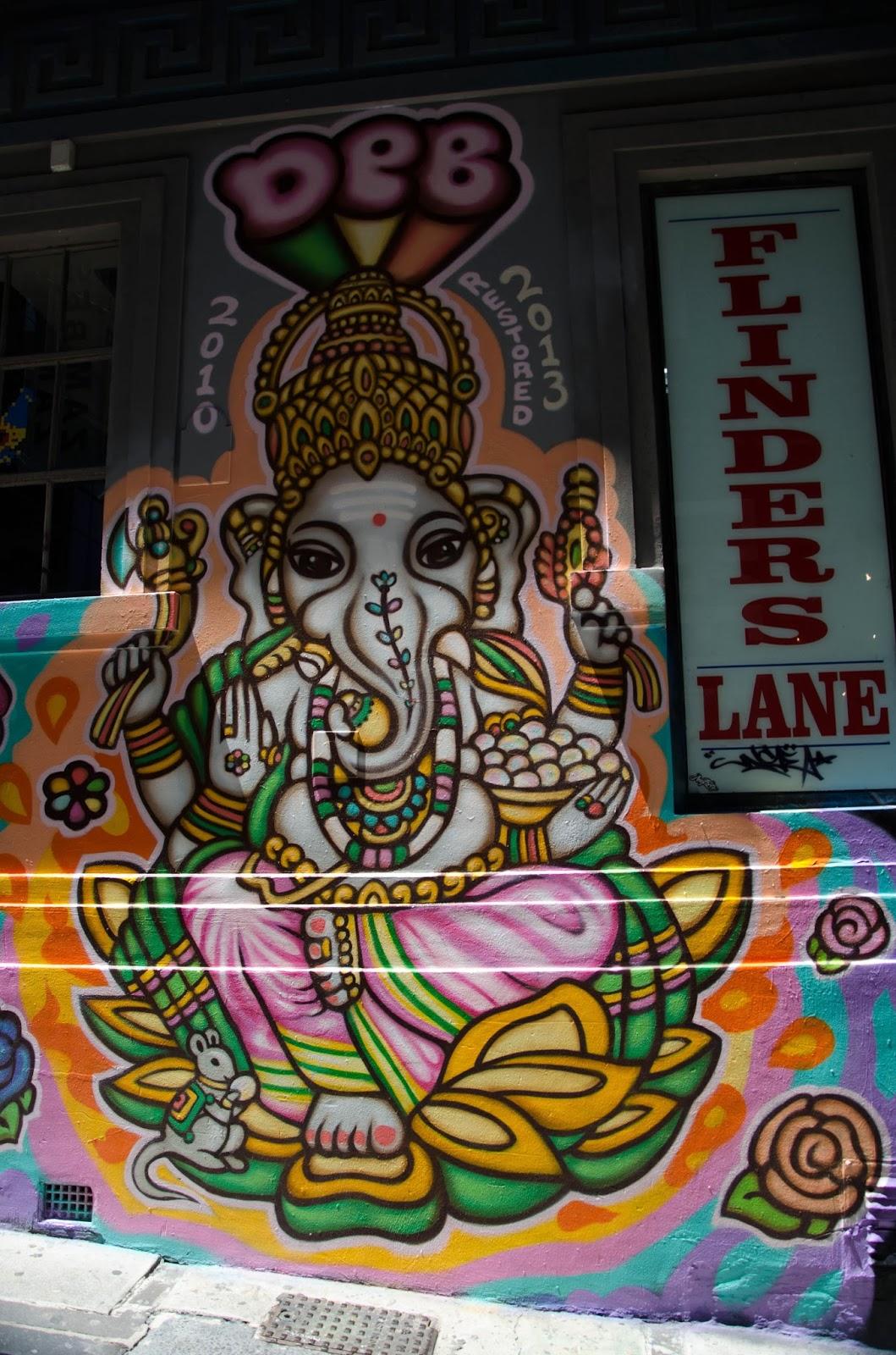 ganesh grafitti in a lane in Melbourne.