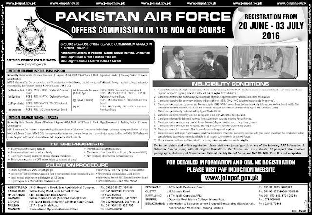 Join Pakistan Air Force PAF As GDMOs and Medical Specialist 2016