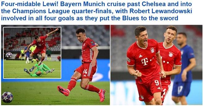 Bayern hủy diệt 7-1 Chelsea: Kinh ngạc Lewandowski, báo chí Anh ngả mũ
