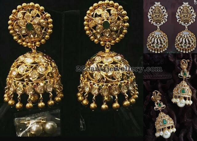 Pachi Diamond Jhumkas with Lakshmi Peacock