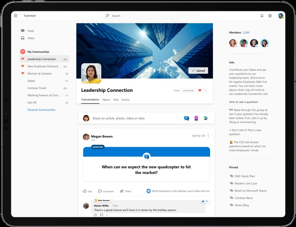 Microsoft Yammer tutto nuovo disponibile in anteprima pubblica
