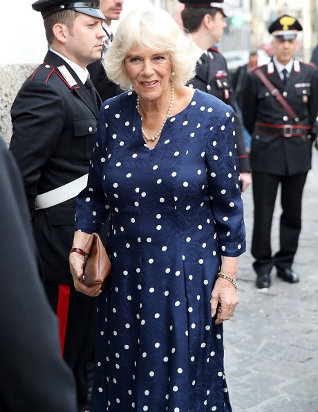 Camilla, Duchess of Cornwall visited the Vasari Corridor on day three of her tour of Italy. Designed by Giorgio Vasari and built by Grand Duke Cosimo I de'Medici
