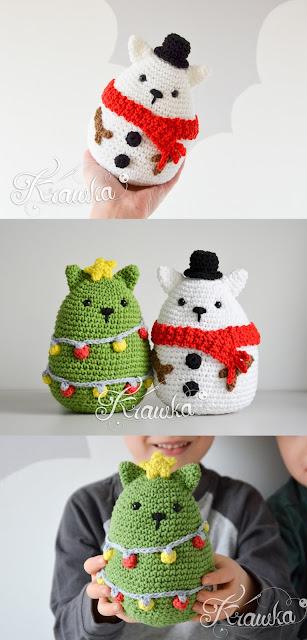 Krawka: Christmas cats crochet patterns Christmas tree and snowman cats - Christmas decoration presents amigurumi pattern by Krawka