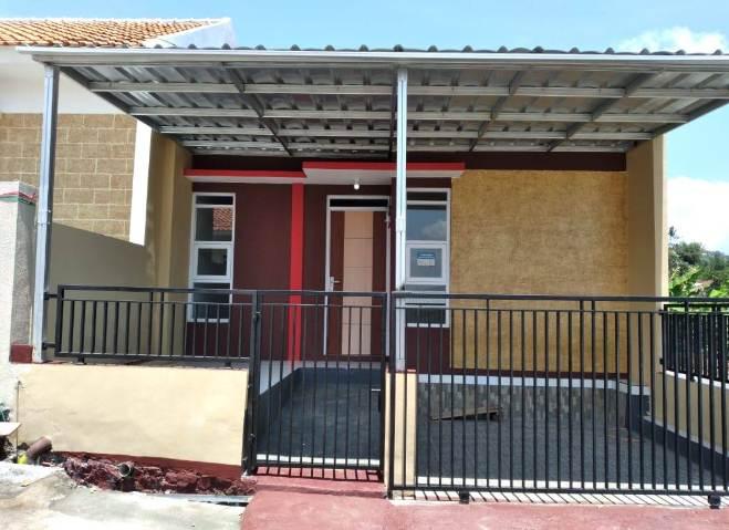 Warna Depan rumah minimalis type 30 kombinasi coklat dan merah