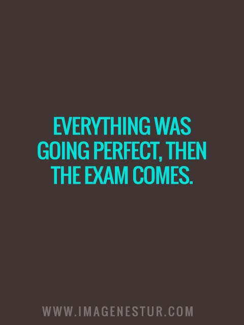 Everything was going perfect, then the exam comes.