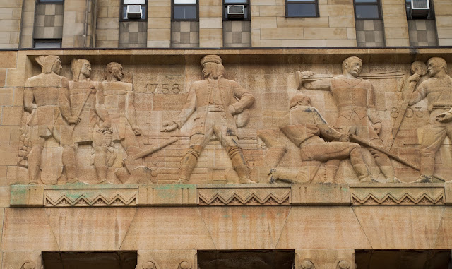 Art Deco scene on the facade of Buffalo City Hall