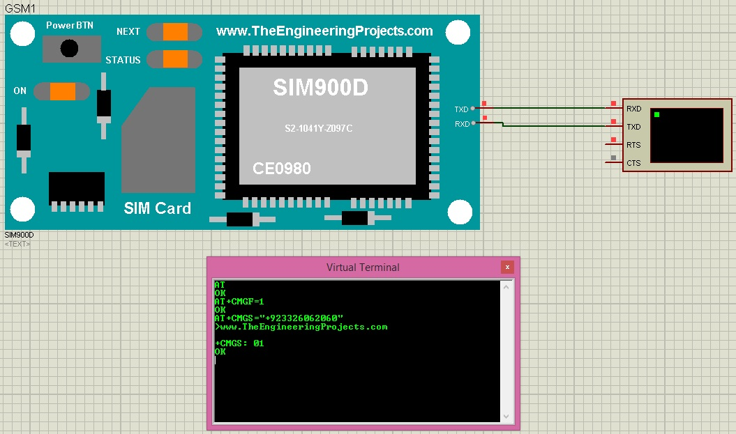 Send SMS with SIM900D in Proteus ISIS ~ Phoum Angkor