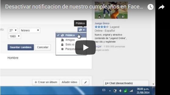 Desactivar notificación o aviso de cumpleaños en Facebook