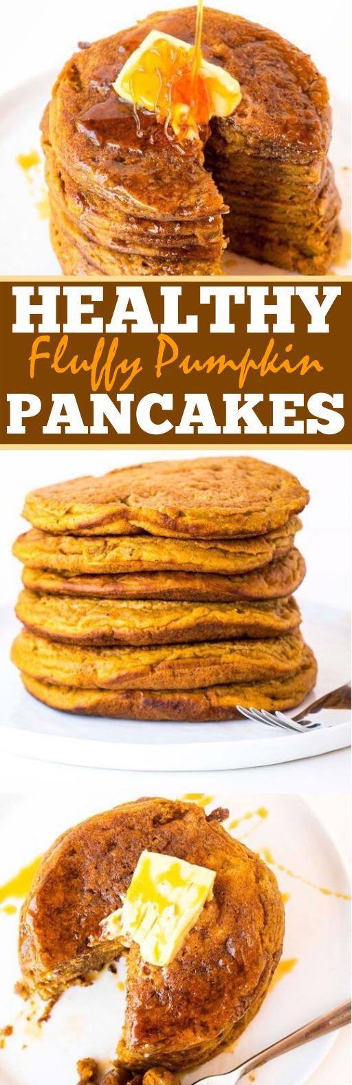 Healthy Fluffy Pumpkin Pancakes #healthy #breakfast #glutenfree #vegetarian #whole30
