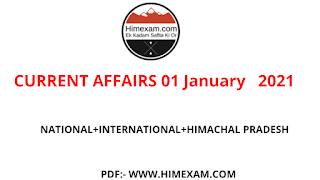 Daily Current Affairs 01 January   2021
