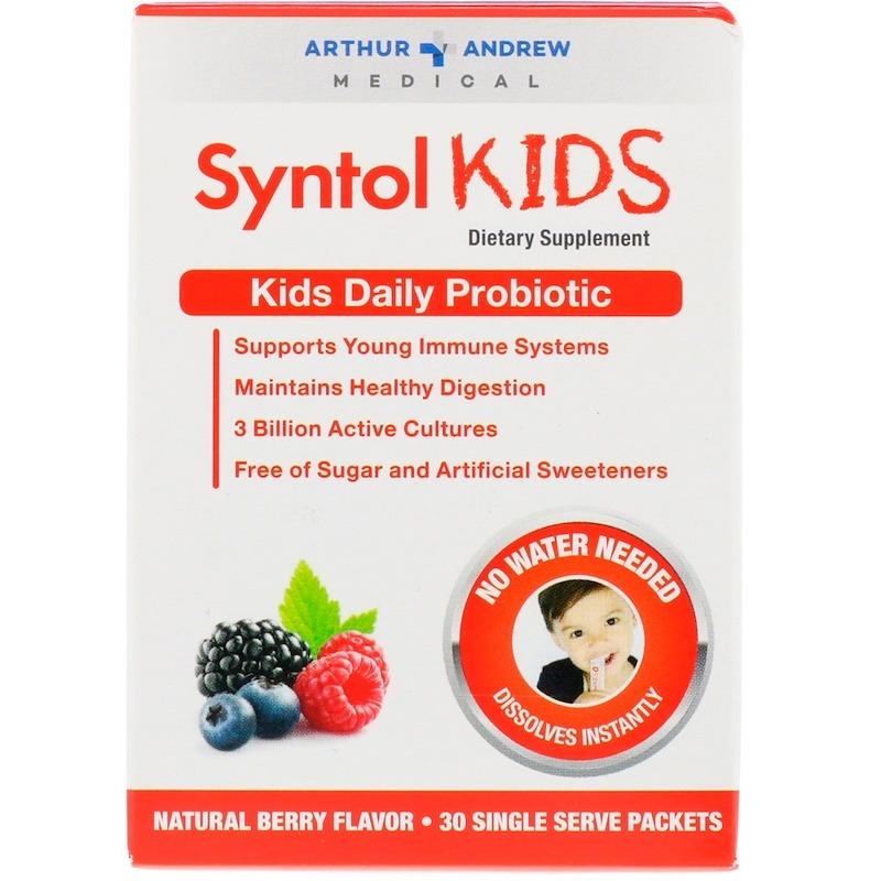 Arthur Andrew Medical, Syntol Kids, ежедневный пробиотик для детей, натуральный ягодный вкус, 30 отдельных порционных пакетиков