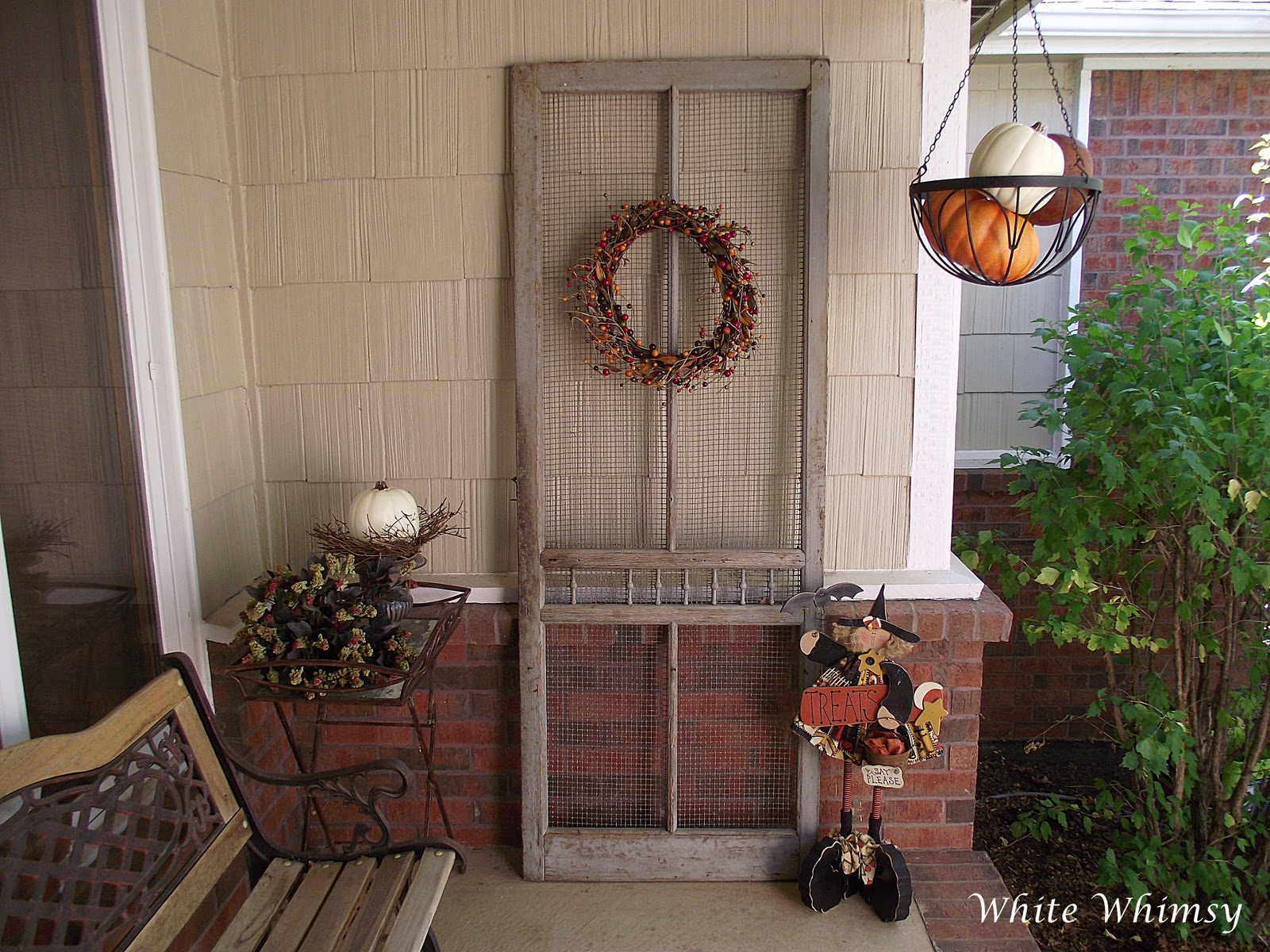 White Whimsy: An Old Screen Door On The Front Porch
