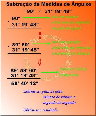 Ilustração mostrando como se faz subtração de medidas de ângulos quando os números não são compatíveis, ou seja, falta minutos ou segundos em um dos números somente.