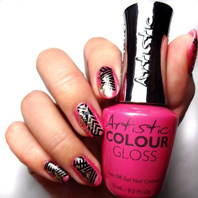 Geometric Pink Nail
