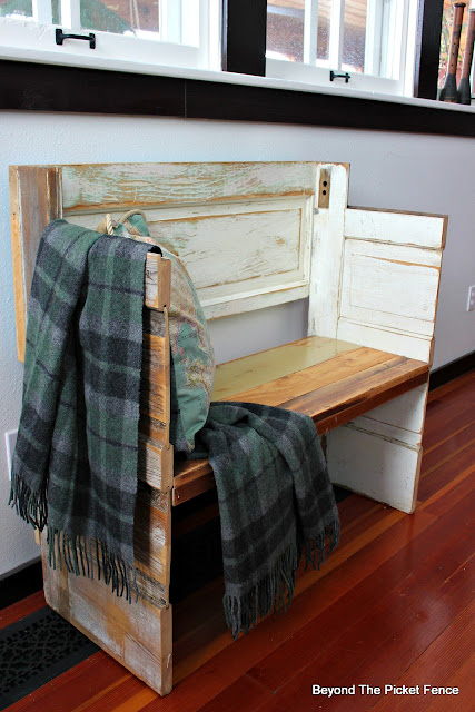 bench, DIY, woodworking, old door, salvaged wood, chippy paint, minwax, wold blanket, plaid blanket, entryway, http://bec4-beyondthepicketfence.blogspot.com/2016/02/a-door-able-bench.html