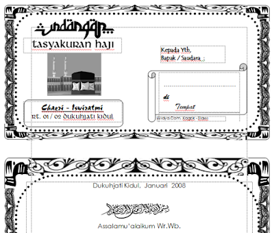 Download Undangan Tasyakuran Haji Format Doc (Ms. Word)