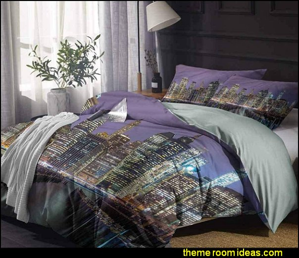 New York City Bedding Set  Manhattan Skyline  bedding new york style bedroom ideas