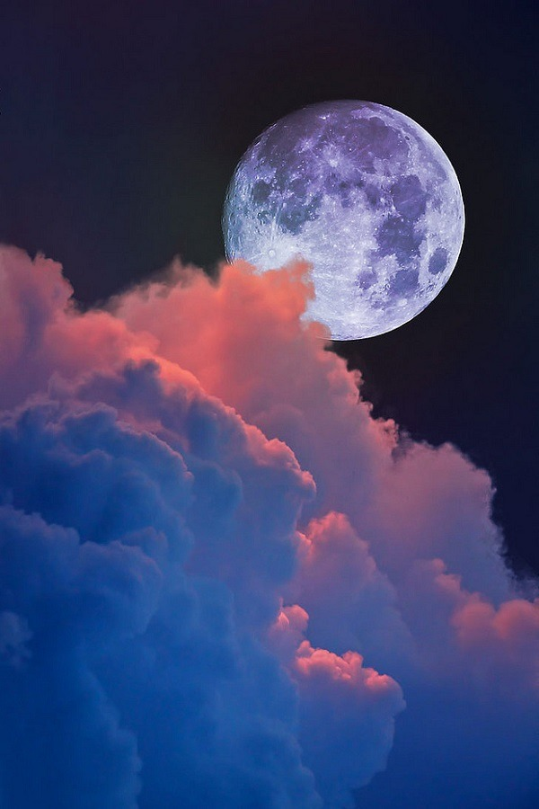 Lunar Moon Rise and pink cumulonimbus