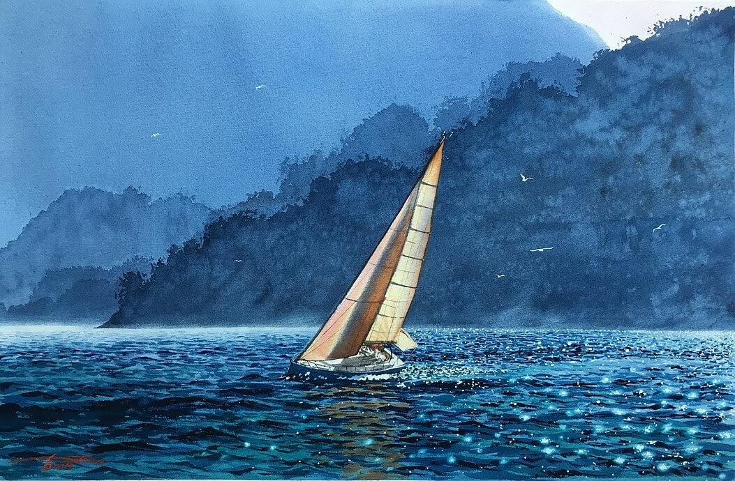 15-Morning-breeze-on-the-lake-Igor-Dubovoy-A-Love-for-Travelling-and-Realistic-Watercolour-Paintings-www-designstack-co