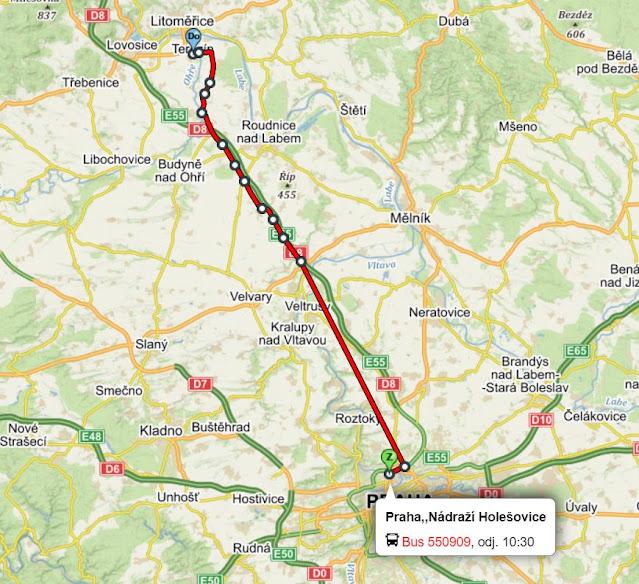 itinerario bus Praga a Terezin