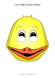 2 - Máscara de pato de color amarillo para imprimir